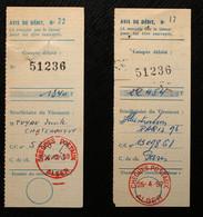 Algérie - 2 Cachets Différents Des Chèques Postaux D'Alger Sur 2 Avis De Débit - Storia Postale