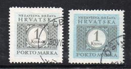 APR2476 - CROAZIA 1942 , Segnatasse Unificato N. 10B Due Nuance  Usata (CRT) - Kroatien