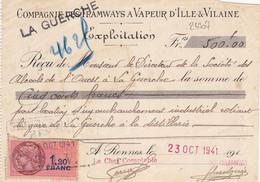 24307# COMPAGNIE DES TRAMWAYS A VAPEUR RENNES ILLE ET VILAINE 1941 LA GUERCHE BRETAGNE TIMBRE FISCAL - Fiscaux