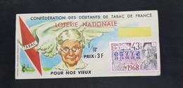 #VP1 - Billet Loterie Nationale 1968 - Confédération Débitants De Tabac - Pour Nos Vieux - Timbre D'ALEMBERT 43 TR Gr 5 - Lottery Tickets
