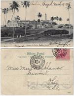 Brazil Bahia 1908 PostcardQuintas Da Barra Lighthouse In Salvador Editor J. Mello Nº 27 Sent To Ohio USA Stamp 100 Réis - Salvador De Bahia