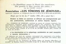 Rare  Carte  Watch-Tower Bible Témoins Jéhovah - Visitenkarten