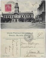 Brazil Bahia 1911 PostcardCity Hall With Tram Salvador Editor J. Mello Sent To Vienna Austria Stamp Próceres 100 Réis - Salvador De Bahia
