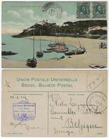 Brazil Bahia 1912 PostcardPonta De Santo Antônio In Salvador Editor J. Mello Sent To Courcelles Belgium Stamp 50 Réis - Salvador De Bahia