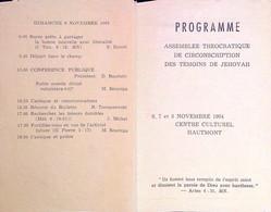 Rare Programme Invitation Réunion événement Watch-Tower Bible Témoins Jéhovah - Programme