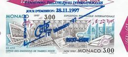 """HZ-/-049- MONACO """" 97- RARE BF N° 78 Avec Les Oblitérations Des 3 Jours De L'EXPO, Le 28-29-30/11/1997, - Usati"""