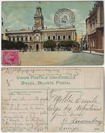 Brazil Bahia 1913 PostcardCity Hall With Tram In Salvador Editor J. Mello Sent To Luxembourg Stamp Próceres 100 Réis - Salvador De Bahia