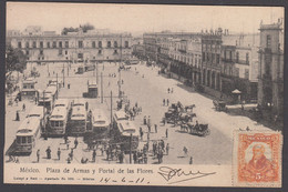 Mexico - MEXICO CITY - Plaza De Armas Y Portal De Las Flores - Used 1911 - Mexique