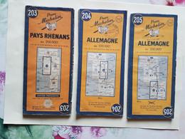 3  CARTES  MICHELIN  N°203 / 204 / 205   PAYS  RHENANS   ALLEMAGNE   ANNEES  50 - Roadmaps