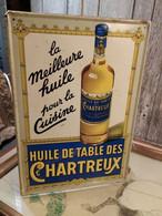 Ancienne Tôle Publicitaire Huile De Table Des Chartreux - Alimentaire