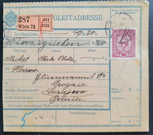Österreich 1918, Paketkarte WIEN Gelaufen SARAJEVO - Cartas