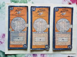 LOT  15  CARTES  MICHELIN  N°52 / 56 / 57 / 60 / 64 / 65 / 66 / 72 / 73 / 79 / 80 / 81 / 87 / 89 / 90 - Roadmaps