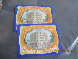 Lot De 2 Liban Beyrouth Bristol Hotel Etiquette Hotel - Hotelaufkleber