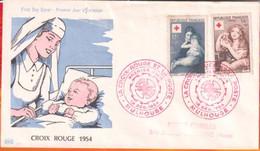 FDC- Edition PAC # FRANCE-1954 # Croix-Rouge -Tableaux # Obl. PJ Mulhouse   (N°Yvert 1006-07 ) Cote 40.00 Euros - 1950-1959
