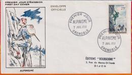 FDC- Edition  Officielle  # FRANCE-1956 # Alpinisme  # Obl. PJ  Grenoble  (N°Yvert 1074 ) - 1950-1959