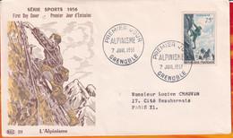FDC- Edition  PAC  # FRANCE-1956 # Alpinisme  # Obl. PJ  Grenoble  (N°Yvert 1074 ) - 1950-1959