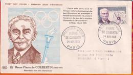FDC- Edition  PAC# FRANCE-1956  # Baron Pierre De Coubertin  # Obl. PJ  Paris    (N°Yvert 1080 )  Cote 15.00 € - 1950-1959