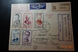 Lettre Recommandée 1er Liaison FRANCE POLYNESIE Via LOS ANGELES - 1921-1960: Moderne
