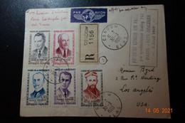 Lettre Recommandée 1er Liaison PARIS . LOS ANGELES B707 - 1921-1960: Moderne