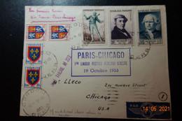 Lettre  Pour COMDON  1er Liaison PARIS . CHICAGO - 1921-1960: Moderne