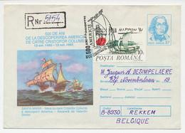 Registered Postal Stationery Romania 1992 Columbus - Santa Maria - Explorers
