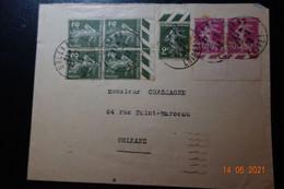 Lettre  De 1933 Affranchissement 8 Semeuses - 1921-1960: Moderne