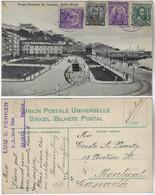 Brazil Bahia 1912 PostcardDeodoro Da Fonseca Square In Salvador Editor J. Mello Sent To Montreal Canada 4 Stamp - Salvador De Bahia