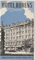 Dépliant Publicitaire Hotel Rubens  London (UK)  Buckingham Palace Road Map  Inside Tariff - Advertising