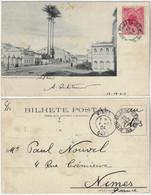 Brazil Bahia 1903 PostcardFloriano Peixoto Street In Salvador Editor Reis & Co Sent To Nimes France 100 Réis Stamp - Salvador De Bahia