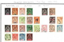 Colonies Françaises Type Sage 1892/1912 24 Timbres/7 Colonies Différents  6 €  (cote 76,65 € 24 Valeurs) - Sin Clasificación