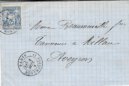 1876- Lettre Affr. 25 C Sage  Oblit.  PARIS / MONTMARTRE 1° - 1849-1876: Classic Period