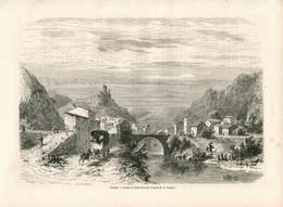Original Antique Print 1860 France Drôme Dauphiné City Pontaix Alps Bridge Architecture - Estampes & Gravures