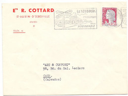 Omslag Enveloppe - Pub Reclame - Ets. R. Cottard, St Aubin D'Ecrosville à Caen - Stempel Cachet Le Neubourg 1962 - Non Classés