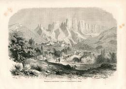 Original Antique Print 1860 France Drôme Dauphiné Roumeyer Mont Glandaz - Estampes & Gravures