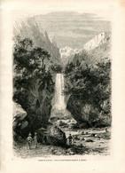 Original Antique Print 1860 France Drôme Dauphiné Chute De La Druise Fall - Estampes & Gravures
