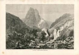 Original Antique Print 1860 France Pelvoux - Estampes & Gravures