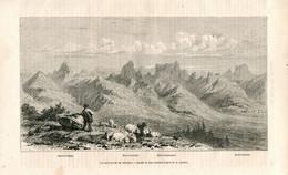 Original Antique Print 1860 France Massif Du Dévoluy Alpes - Estampes & Gravures