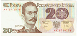 Pologne - Billet De 20 Zlotych - 1er Juin 1982 - Romuald Traugutt - P149a - Neuf - Poland