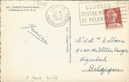 """FRANCE - 6 FR. FRANKING (YV. #1009A """"ROULETTE"""" ALONE) ON PC (VIEW OF LOURDES) TO BELGIUM - 1955 - Coil Stamps"""