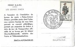 France - Cad Sur Yvert N° 1285 - 16 5 1961 Inauguration De Poste Dans L'Usine - Usines SIMCA POISSY - Seine Et Oise- - Covers & Documents