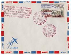 Rare Lettre Philatélique Royaume Laos 1963 Airmail Vientiane Temporaire Marcophilie Conférence Bassin Mékong - Laos