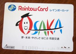 GIAPPONE Ticket Biglietto  Treni Metro Bus Osaka Rainbow  Card 1.000 ¥ - Usato - World