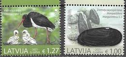 LATVIA, 2021, MNH, EUROPA, ENDANGERED SPECIES, BIRDS, STORKS, MUSSELS, MARINE LIFE, 2v - Other