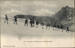CPA Hautes Alpes, Traversee D'un Glacier Par Les Chasseurs Alpins - Altri Comuni