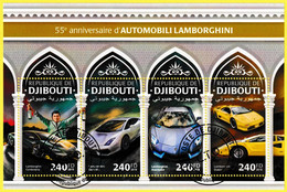 Bloc Feuillet Oblitéré De 4 Timbres-poste - 50e Anniversaire Des Automobiles Lamborghini - République De Djibouti 2018 - Yibuti (1977-...)