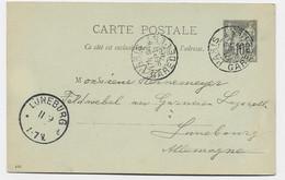 ENTIER 10C SAGE TYPE A PARIS GARE DE L'EST 9 SEPT 1895 POUR ALLEMAGNE - Overprinter Postcards (before 1995)