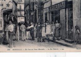 """MARSEILLE: Rare Cliché De1909-Un Coin Du Vieux MARSEILLE-la Rue BOUTERIE, """"MIGNON-BAR,en1910,tbon état, éditeur Selecta. - Old Port, Saint Victor, Le Panier"""