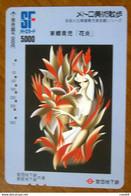 GIAPPONE Ticket Biglietto Treni Metro Bus - Arte  Painting Girl Railway SF Card 5000 ¥ - Usato - World