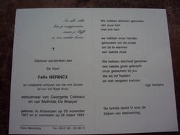 Doodsprentje/Bidprentje  Felix HERINCX(Wedr G.Cobbaut & M.De Maeyer) Antwerpen 1897-1993 O.r.schipper M/s Condor - Religion & Esotericism