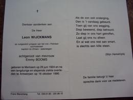 """Doodsprentje/Bidprentje  Leon WIJCKMANS (Echtg E.BOOMS) Merksem 1924-1990 Antwerpen Schipper M/s """"Thérèse"""" Kapt Otraco W - Religion & Esotericism"""